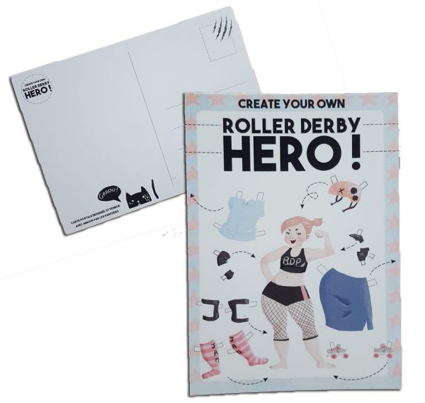 "Carte postale ""Create your own Roller Derby Hero!"" 1,50€"